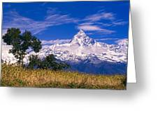 View Of Machhapuchhare From Sarangkot Greeting Card