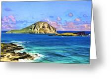 View Of Makapuu And Rabbit Island Greeting Card