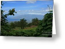 View Of Mauna Kahalewai West Maui From Keokea On The Western Slopes Of Haleakala Maui Hawaii Greeting Card