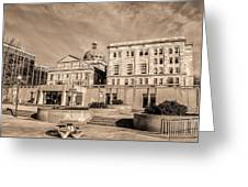 View Of Montgomery County Courthouse From The Southside In Sepia Greeting Card