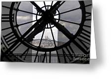View Of Montmartre Through The Clock At Museum Orsay.paris Greeting Card by Bernard Jaubert