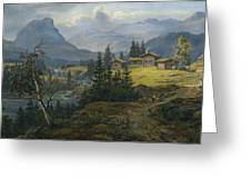 View Of Oylo Farm, Valdres Greeting Card
