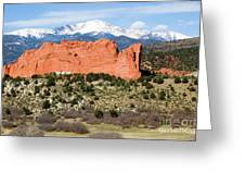 View Of Pikes Peak And Garden Of The Gods Park In Colorado Springs In Th Greeting Card