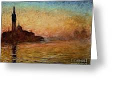View Of San Giorgio Maggiore Venice By Twilight Greeting Card