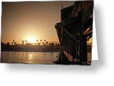 View Of Setting Sun Over Santa Barbara, Ca Greeting Card