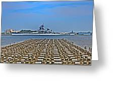 View Of The Battleship New Jersey From Philadelphia Greeting Card