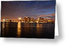 View Of The Boston Waterfront At Night Greeting Card