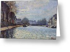 View Of The Canal Saint-martin Paris Greeting Card