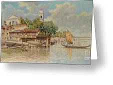 View Of The Gondola Shipyard In San Trovaso Greeting Card