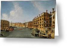 View Of The Grand Canal Venice With The Fondaco Dei Tedeschi Greeting Card