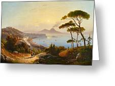 View Of The Gulf Of Naples Greeting Card