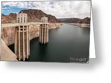 View Of The Hoover Dam Lake With Low Water Reserves Greeting Card