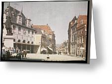 View Of The Market Horn  With The Statue Of Jan Pietersz Coen And The Waag Anonymous  1907   1930 Greeting Card