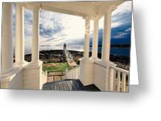 View Of The Marshall Point Lighthouse From The Keeper's House Greeting Card