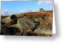 View Of The Mother Cap Gritstone Rock Formation, Millstone Edge Greeting Card