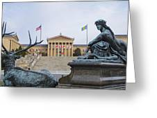 View Of The Museum Of Art In Philadelphia From The Parkway Greeting Card