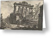 View Of The So-called Temple Of Concord With The Temple Of Saturn, On The Right The Arch Of Septimiu Greeting Card