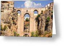 View Of The Tajo De Ronda And The Puente Nuevo Bridge From Across The Valley Greeting Card