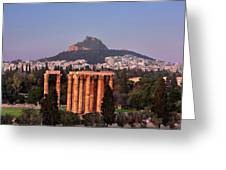 View Of The Temple Of Olympian Zeus And Mount Lycabettus In The  Greeting Card
