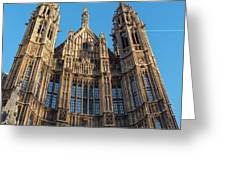 View Of The Top Detail Of The Parlament House In London Greeting Card