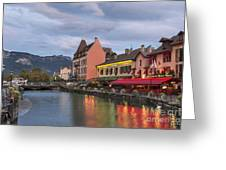 View Of Thiou River In Annecy Greeting Card