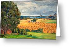 View Of Vadstena From The Surrounding Fields Greeting Card