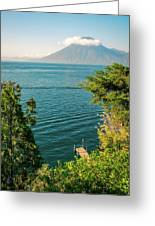 View Of Volcano San Pedro With A Crown Of Clouds In Guatemala Greeting Card