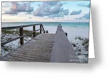 View Of White Sand And Blue Ocean From Wooden Boardwalk Greeting Card