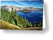 View Of Wizard Island Crater Lake Greeting Card