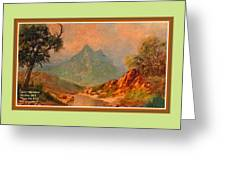 View On Blue Tip Mountain H A With Decorative Ornate Printed Frame. Greeting Card