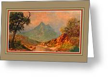 View On Blue Tip Mountain H B With Decorative Ornate Printed Frame. Greeting Card