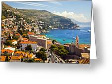 View Over Dubrovnik Coastline Greeting Card