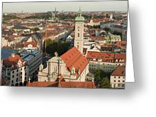 View Over Munich With Frauenkirche Greeting Card by Greg Dale