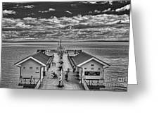 View Over The Pier Mono Greeting Card