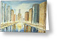 View Up The Chicago River Greeting Card
