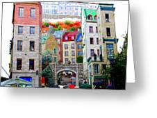 Viewing A Mural At La Fresque Des Quebecois Greeting Card