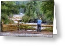 Viewing Tahquamenon Lower Falls Upper Peninsula Michigan Pa Greeting Card