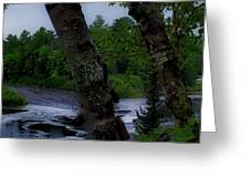 Viewing Tahquamenon Lower Falls Upper Peninsula Michigan Panorama 02 Greeting Card