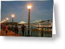 Viewing The Bay Bridge Lights Greeting Card