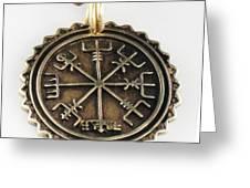 Viking Bronze Vegvisir Pendant Greeting Card