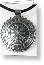 Viking Vegvisir Rune Calendar Sterling Silver Pendant Greeting Card