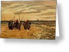 Viktor Ivanovich Zarubin Russian 1866  1928 Fisherwomen In Normandie Greeting Card