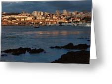 Vila Nova De Gaia In Portugal At Sunset Greeting Card