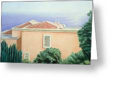 Villa With Cypress Trees Greeting Card