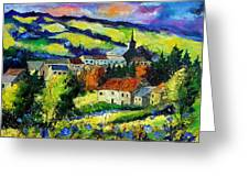 Village And Blue Poppies  Greeting Card