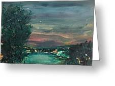 Village At Twilight Greeting Card