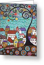 Village By The Sea Greeting Card