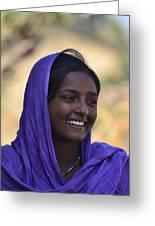 Village Girl Greeting Card by Atul Daimari