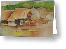 Village Huts On Rockside Greeting Card