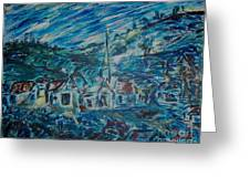 Village In Blue  Greeting Card by Mary Sedici